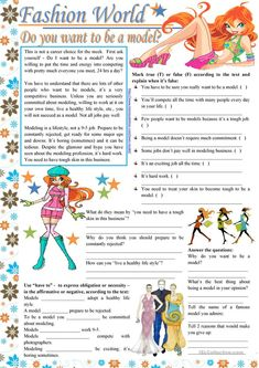Fashion World – Do you want to be a model? - reading comprehension, have to [text + 4 tasks] ***editable