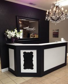 Front desk, stenciled wall. Logo on mirror. Love! - Hannah's Nail Lounge & Spa