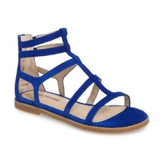 Women's Hush Puppies Abney Chrissie Cage Sandal ($79) ❤ liked on Polyvore featuring shoes, sandals, cobalt blue suede, suede shoes, monk-strap shoes, roman sandals, greek sandals and hush puppies sandals