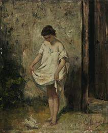 Λεμπέσης Πολυχρόνης (1848 - 1913) Κόρη που ταΐζει περιστέρια Λάδι σε ξύλο , 46 x 38 εκ. Συλλογή Ιδρύματος Ε. Κουτλίδη , Αρ. έργου: Κ.22