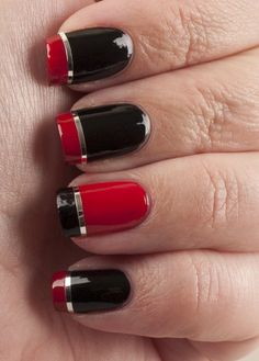 Red or black nailart tutorial.