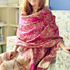 ladies shawls and scarves pashmina autumn winter india jacquard fringed design wrap cape tartan female women hijabs scarve