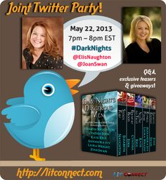 Very excited about the Tweet Party, Wed 5/22/'13  from 7-8pm eastern time. Many chances to win some fabulous prizes from Authors Joan Swan and Elisabeth Naughton!! No registration needed either! :)