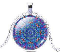 Mandala Glass Yoga Pendant Necklace - Purple Design