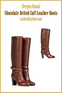 Sergio #Rossi, Chocolate Belted Calf Leather Boots