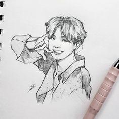 New Art Sketches Kpop Drawings, Art Drawings Sketches, Pencil Drawings, Kpop Fanart, Bts Jungkook, Bts Wallpaper, K Pop, Art Inspo, New Art