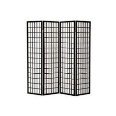 Q-Max Japanese Oriental-style Black Wood and Paper 4-panel Room Screen Divider and Decoration