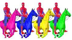 Spiderman Riding Horse Colorful Song | Learning Color for Children | Learn Popular Color Rhymes Kids