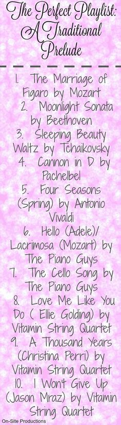 The Perfect Songs for a Traditional Prelude.  I love these--especially the modern songs that are still traditional!