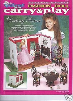 Needlecraft Shop Carry & Play Fashion Doll Dining Room Plastic Canvas Pattern | eBay