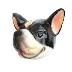 French Bulldog Animal Head Shaped Faux Taxidermy Wall Plaque Tissue Paper Roll Holder | Handmade Animal Decor