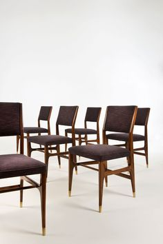 Set of six chairs by Gio Ponti circa 1955 - Walnut and brass - Cassina Edition