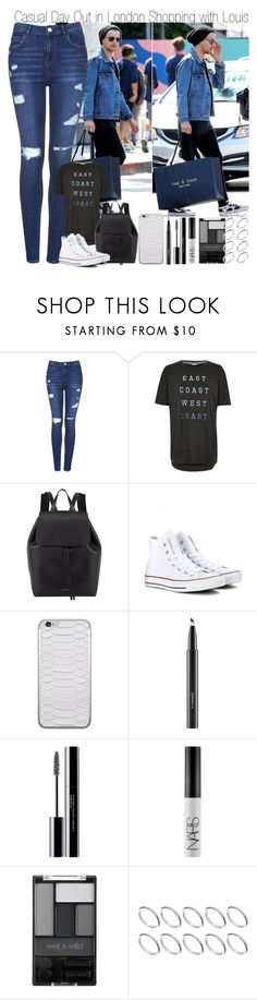 """""""Casual Day Out in London Shopping with Louis"""" by elise-22 ❤ liked on Polyvore featuring Topshop, River Island, Mansur Gavriel, Converse, Jamie Clawson, MAC Cosmetics, shu uemura, NARS Cosmetics, Wet n Wild and ASOS"""