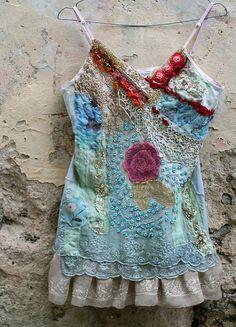 Rosa gallica   romantic hand embroidered blouse por FleurBonheur, $273.00