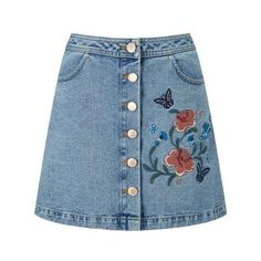Floral Embroidered Denim Skirt (233.520 COP) ❤ liked on Polyvore featuring skirts, denim skirt, miss selfridge, blue denim skirt and blue skirt