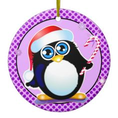 #Purple #Penguin #Ornament on sale at http://TeeLoft.com/175591369888318027?tc=WITHCOUPON (discount coded updated & always current) Get 'em while they're hot ... erm ... cool?