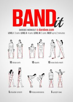 Resistance bands are likely the best inexpensive training tool you can get. Whether you are a beginner or already at an advanced fitness level, resistance band exercises can give your muscles a good challenge # thighs Fun Fitness, Sport Fitness, Yoga Fitness, Fitness Motivation, Health Fitness, Fitness Band, Health Diet, Toning Workouts, Easy Workouts