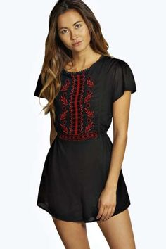 Nyomi Capped Sleeve Embroidered Playsuit. Get unbelievable discounts up to 60% Off at Boohoo using Coupon & Promo Codes.
