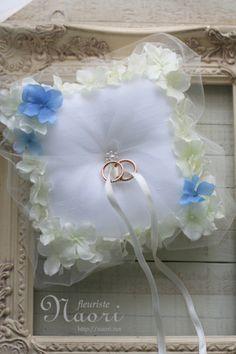 紫陽花のリングピロー ホワイト×ブルー
