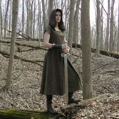 Medieval Huntress / Shieldmaiden.  Dresses made and sold By folkofthewood