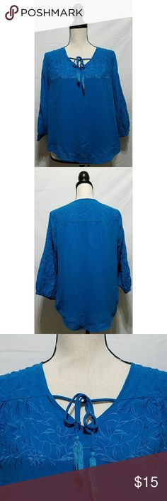 """Cynthia Rowley Blue Embroidered 3/4 Sleeve Blouse Women's Cynthia Rowley blue blouse with floral embroidery and cut outs, size small. There is one spot on the left sleeve (see pic). It is in otherwise excellent used condition with no other stains, tears, rips or holes that I can see.  100% polyester   Chest: 42"""" Armpit to armpit: 21"""" Shoulder to hem: 21"""" Armpit to hem: 11"""" Sleeve: 17.5""""  All items come from a smoke and pet free home. Cynthia Rowley Tops Blouses"""