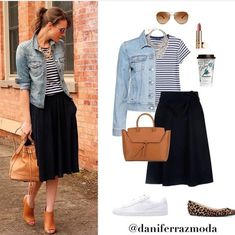Fashion Tips Moda Like the options with this. Love black and white!Fashion Tips Moda Like the options with this. Love black and white! Mode Outfits, Casual Outfits, Fashion Outfits, Fashion Tips, Casual Black Dress Outfit, Black Pleated Skirt Outfit, Striped Top Outfit, Striped Flats, Striped Tee