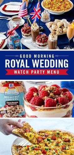 These recipes are great enough to impress the royal family! Here's exactly what you need to host an easy and flavorful brunch for your royal wedding viewing party. Good Morning Breakfast, Brunch Wedding, Party Recipes, Recipe Box, Holiday Parties, Cheers, Theater, Summertime, Special Occasion