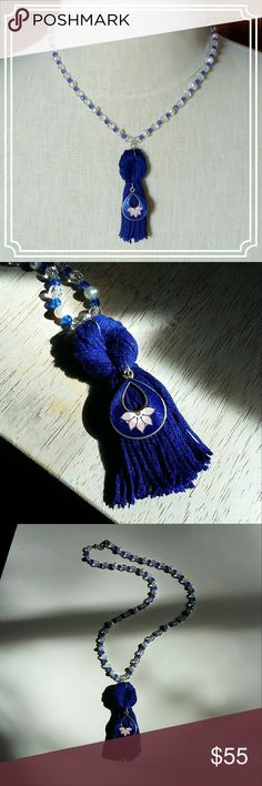 """Royal Blue Tassle Necklace Pearls, blue faceted glass beads, and clear faceted crystals strung on silk thread.  Royal blue tassle embellished with a vintage royal blue with a pink lotus enamel pendant.  Necklace is 19"""", tassle is 3"""". Jewelry Necklaces"""