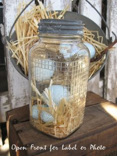Canning Jar with Zinc Lid Rustic Farmhouse Eggs and Straw Incl. by SweetMagnoliasFarm, $18.50