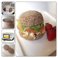 Buscando que desayunar?? Pan integral al microondas??? Mira esta receta! Ingredientes: (para un pan grande o dos mas delgaditos) -2claras a nieve o punto de suspiro. -1/4 taza avena en polvo. -2cdas linaza en polvo - 1cdta polvos de hornear - 1cdta semillas chía - 1 cdta semillas de linaza - 1 cdta semillas de sésamo (usa las semillas que tengas, si no tienes todas omitelas) Preparación: 1- bate las claras a nieve o punto de suspiro. (es mas rapido con batidora electrica) 2-mezla las claras… Healthy Food Alternatives, Raw Food Recipes, Low Carb Recipes, Healthy Recipes, Healthy Snacks For Kids, Healthy Eating, Pan Integral, Good Food, Yummy Food