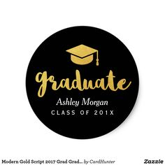Shop Modern Gold Script 2020 Grad Graduation Favor Classic Round Sticker created by CardHunter. Personalize it with photos & text or purchase as is! Graduation Party Supplies, Graduation Cap Decoration, Graduation Diy, Script Lettering, Typography, Congratulations Graduate, Graduation Announcements, Round Stickers, Tool Design