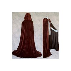 Brown Velvet Cloak Lined in Brown Satin ($60) ❤ liked on Polyvore featuring cloaks and medieval
