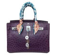 06e6a7467811 Hermes Birkin Bag 30cm in color Raisin and exotic ostrich skin with  palladium hardware. Very