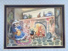 "Original Watercolor Painting by Barbara Embree ""Rockabye Baby"" Mama Cat & Kitten"