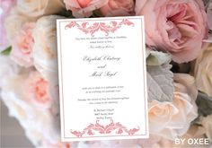 Printable Wedding invitation template Soft Pink victorian by Oxee, $5.00