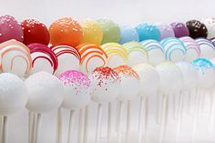 rainbow cake pops via @brides.com