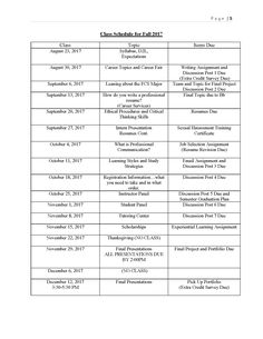 Mock up Syllabus for Gamecock Knowledge Quest: schedule of Assignments