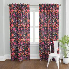 """Made of high-quality fabrics with a custom printed design our Plymouth curtain panels instantly dress up windows in the bedroom, living room and beyond. Constructed with both a rod pocket and 3.5"""" back tabs for a gathered or a pleated look. 50"""" wide panels feature generous 4"""" bottom hems. ***Each curtain panel is sold individually.*** DIMENSIONS Available in 3 lengths: ◆ 50"""" W x 84"""" L ◆ 50"""" W x 96"""" L ◆ 50"""" W x 108"""" L FABRIC OPTIONS ◆ Organic Cotton Sateen - Lightweight 100% organic cotton with a Damask Curtains, Floral Curtains, Custom Curtains, Blush Curtains, Art Nouveau Pattern, Pattern Art, Curtain Panels, Panel Curtains, Mid Century Modern Curtains"""