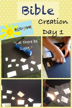 """My Little Sonbeam: September Week 2 - Homeschool Preschool Bible craft and lesson activity for Creation day one. God said,""""Let there be light,"""" and there was light. Learning activities for 2, 3, and 4 year olds  Mylittlesonbeam.blogspot.com"""