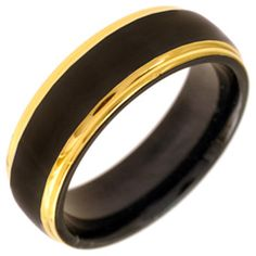 Men's 7.0mm Black Enamel Wedding Band in Gold Ion-Plated Stainless Steel - View All Jewelry - Gordon's Jewelers