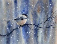 WOODLAND CHICKADEE watercolor bird painting by Barbara Fox, painting by artist Barbara Fox