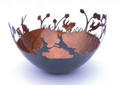 """Hares"" bowl by Sara Piper Heap (vitreous enamel on copper)"