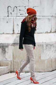 The Street Style - via asm-magazine. Bershka pants, Zara Man sweater, Zara scarf, Zara heels, Zalando beanie