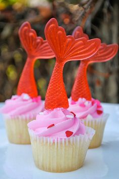 Mermaid Tail Cupcake Toppers Set of 6 Red by jacolynmurphy on Etsy, $15.00