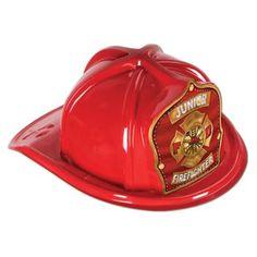 Jr Firefighter Plastic Hat, Red