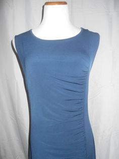 Michael Kors Blue Maxi Ruched Full-Length Sleeveless Cut-Out Back Dress sz L EUC #MichaelKors #Maxi