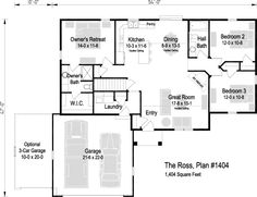 The Ross, Plan 1404 | 1,404 sq ft | 3 bedroom | 2 bath 3 Car Garage, Price Point, New Homes For Sale, New Construction, Square Feet, Great Rooms, Floor Plans, How To Plan, Bedroom