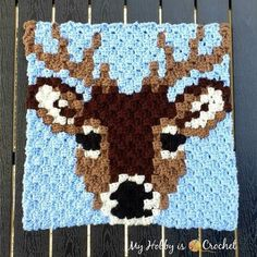 "Free Crochet Pattern + Graph: ""Deer Stag"" Square - Wildlife Graphghan CAL (My hobby is crochet) Afghan Crochet Patterns, Crochet Squares, Crochet Afghans, Crochet Crafts, Crochet Projects, Manta Animal, Crochet Hooks, Free Crochet, Corner To Corner Crochet"