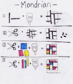 Mondrian lesson for elementary students - Art Lesson Plans Piet Mondrian, Mondrian Kunst, Mondrian Dress, Mondrian Art Projects, School Art Projects, Middle School Art, Art School, Documents D'art, Classe D'art