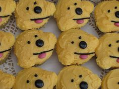 I made these for a Spot dog themed 1st birthday party. I got to meet the very cute birthday girl when I dropped off the order.  These cute cupcakes were so much fun to make! Perky Nana cupcakes with banana flavoured frosting!